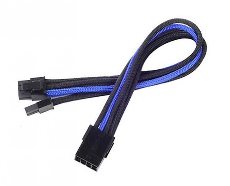 Silverstone 8-Pin PCIe - 6+2-Pin PCIe hosszabbító - 250mm fekete/kék