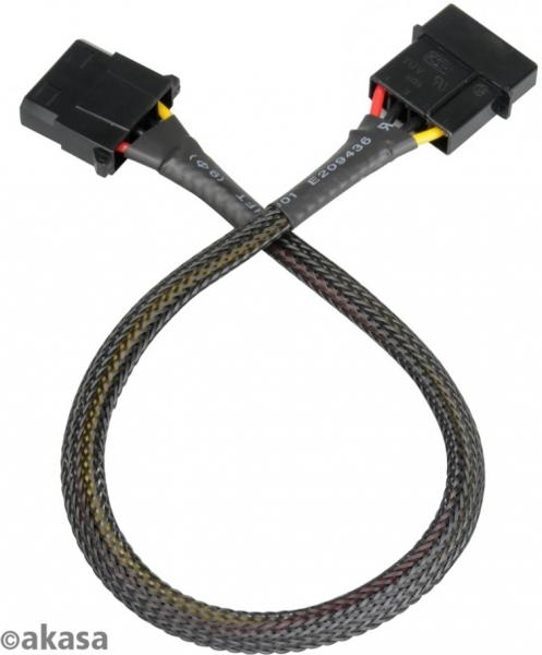Akasa 4 pin Molex hosszabbító harisnyázott - 30cm fekete /AK-CBPW02-30/