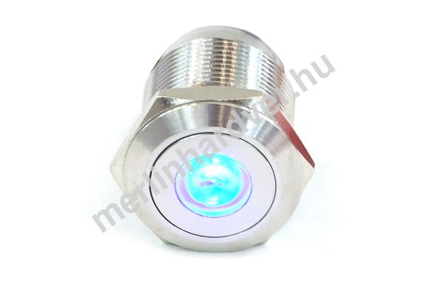 Phobya Vandalism Proof nyomógomb 19mm - rozsdamentes acél, kék pont világítás, 6pin