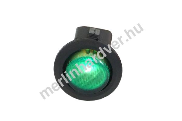 Phobya kerek kétállású kapcsoló - zöld világítás - unipoláris ON/OFF (3-Pin)