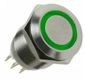 Lamptron Nyomógomb / kapcsoló 19mm - Ezüst/ Zöld (LAMP-SW1912L-G)