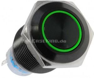 Lamptron Nyomógomb 19mm - Fekete/ zöld (LAMP-SW1913L-H)
