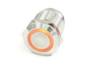 Phobya Nyomógomb 19mm, Narancssárga LED 6pin