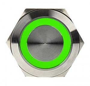 DimasTech Nyomógomb 25mm - Silverline - Zöld (PD062)