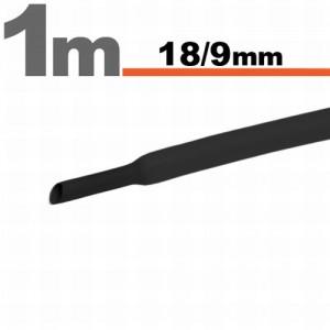 Zsugorcsõ 18mm / 9mm fekete 1 méter /11026F/