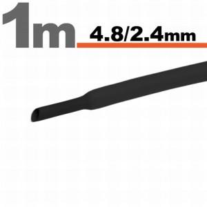 Zsugorcsõ 4,5mm / 2,4mm fekete 1 méter  /11025F/
