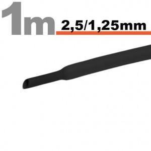 Zsugorcsõ 2,5mm / 1,25mm fekete /11020F/
