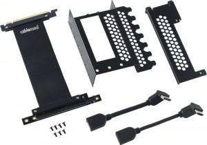 CableMod vertikális grafikus kártya tartó PCIe x16 riser kábellel, 1x DisplayPort, 1x HDMI - fekete(CM-VPB-HDK-R)