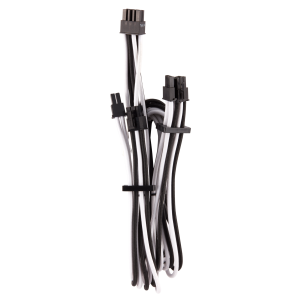 Corsair Premium harisnyázott PCIe-Dual kábel Typ 4 Gen 4, Y-Kábel - fekete/fehér (CP-8920255)