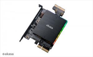 Akasa Dual M.2 PCIe és 2x M.2 SATA SSD adapter RGB LED  /AK-PCCM2P-04/
