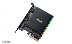 Akasa M.2 PCIe 2xM.2 SATA SSD adapter RGB LED /AK-PCCM2P-03/