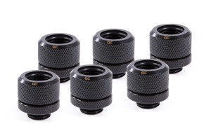 Alphacool Eiszapfen 14mm HardTube fitting G1/4  - Deep Black Sixpack 17552