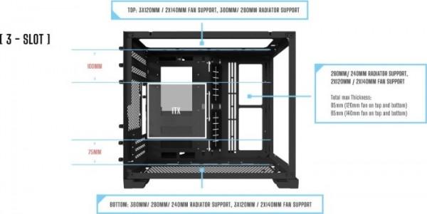 Lian Li PC-O11 Dynamic Mini, fekete, üvegablak (O11D MINI -X)