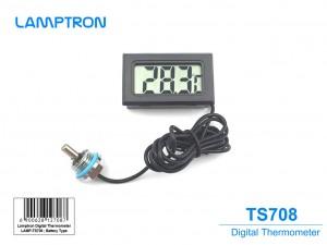 Lamptron digitális hőmérő, G1/4 hüvelykes csatlakozó - fekete/ezüst (LAMP-TS708)