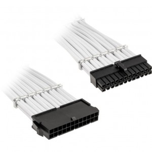 BitFenix Alchemy 24-pin ATX hosszabbító 30 cm, sleeved - fehér (BFA-MAC-24ATX45WK-RP)