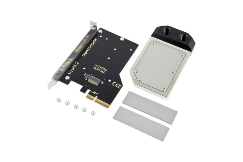 Aquacomputer kryoM.2 PCIe 3.0 x4 adapter M.2 NGFF PCIe SSD, M-Key nikkelezet + water block /53228/