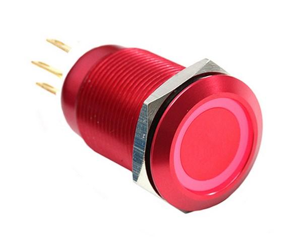 ModMyToys Vandalism kapcsoló 19mm - piros alumínium, piros gyűrű, 6pin
