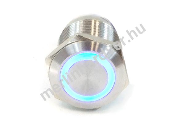 Phobya Vandalism Proof nyomógomb 19mm - rozsdamentes acél, kék gyűrű, 6pin