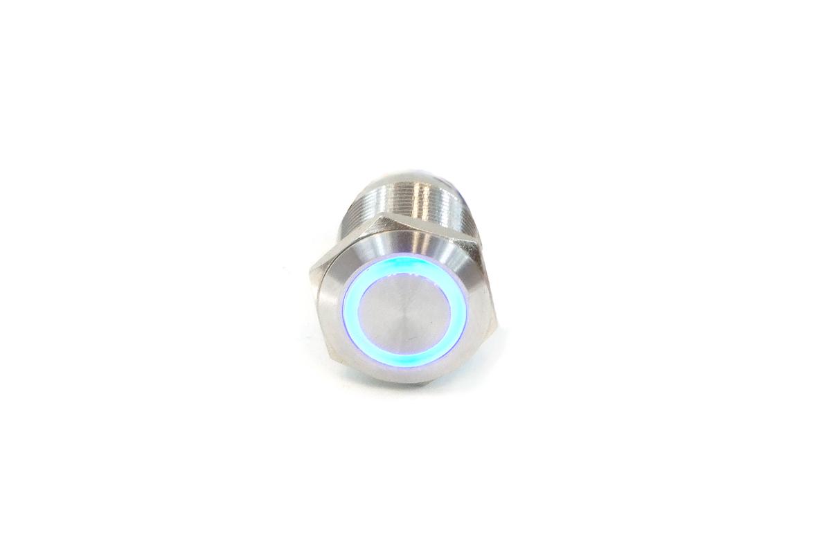Phobya rongálás / csengő gomb 19mm rozsdamentes acél, RGB gyűrű megvilágított 7 tűs /1015789/