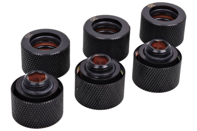 Alphacool HT 16mm HardTube Fitting G1/4  Plexi- Réz - recés - Deep Black Sixpack /17385/
