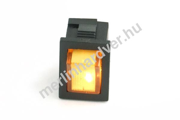 Phobya négyszögletes kapcsoló - sárga világítás - unipoláris ON/OFF (3-Pin)