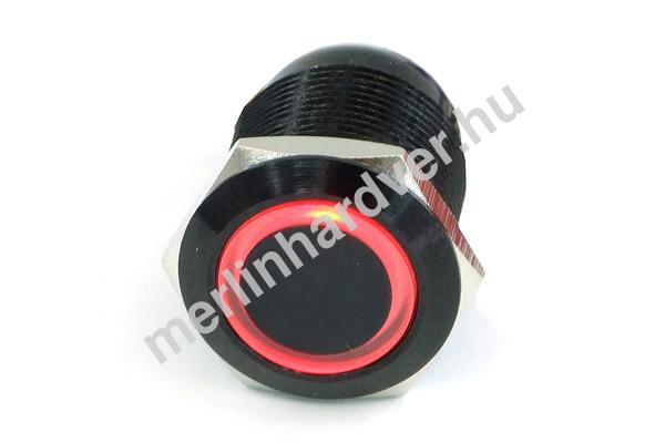 Phobya Vandalism Proof nyomógomb 19mm - fekete alumínium, piros gyűrű, 6pin