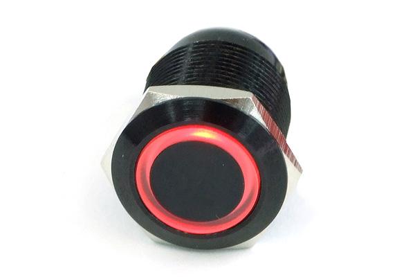 Phobya Vandalizmus / csengő nyomódomb 19mm alumínium fekete, piros megvilágítású, csavaros érintkezőkkel /71136/