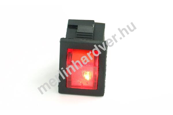 Phobya négyszögletes kapcsoló - piros világítás - unipoláris ON/OFF (3-Pin)