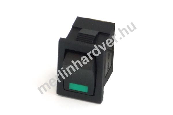 Phobya négyszögletes kapcsoló - zöld LED - unipoláris ON/OFF (3-Pin)
