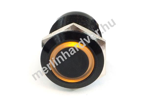 Phobya Vandalism Proof nyomógomb 19mm - fekete alumínium, sárga gyűrű, 6pin