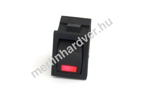 Phobya négyszögletes kapcsoló - piros LED - unipoláris ON/OFF (3-Pin)