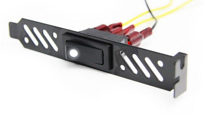 ModMyToys PCI Slotpanel LED-es kapcsolóval - Fekete/Fehér